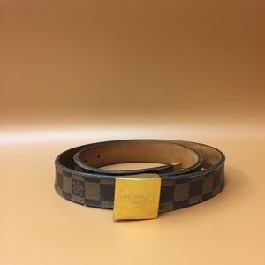 Louis Vuitton Damier Ebene Gold Buckle Belt